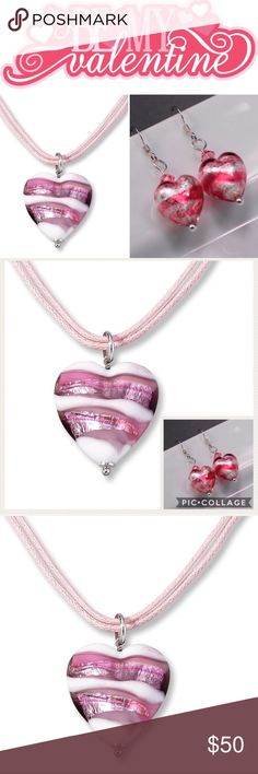 💕 Pink Venetian Heart Necklace and Earring Set Perfect for Valentines Day!!!❤️❤️❤️ Pink Glass Venetian Heart on Pink leather double strand necklace with matching earrings. From Kay Jewelers. Worn once. Kept in original box.  Every kiss begins with Kay 😘 Kay Jewelers Jewelry Necklaces