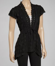 Take a look at this Black Embroidered V-Neck Top by Como No? by Biz on #zulily today!
