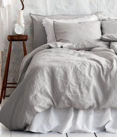 Linen Duvet Cover Set, Light Gray - traditional - duvet covers - - by H SPARE BEDROOM. Cozy Bedroom, Dream Bedroom, Bedroom Decor, Trendy Bedroom, Light Gray Bedroom, Serene Bedroom, Bedding Decor, Chic Bedding, Boho Bedding