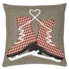 Nordic Holiday Glass Skaters Down Throw Pillow