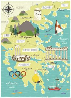 Illustrated Map Design and Cartography - Bek Cruddace Illustration Greece Map, Greece Travel, Attica Greece, Travel Maps, Travel Posters, Travel Europe, Travel Pictures Poses, Tourist Map, Watercolor Map