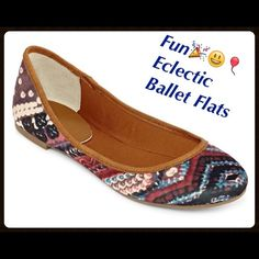 Fun Eclectic Ballet Flats NEW 7 These little shoes prove that casual doesn't have to be boring. Super fun multicolored eclectic print synthetic (cloth) upper and rubber bottom sole. brand New Size 7  Arizona Jean Company Shoes Flats & Loafers