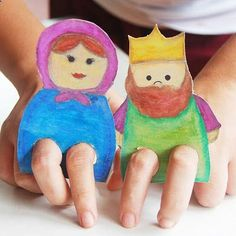 Sunday school ideas. Cardboard Finger Puppets - Super cute and easy to make from old cereal boxes!