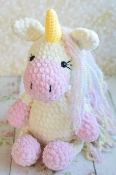 Use this free crochet pattern to create a fantasy unicorn amigurumi! To crochet the unicorn plush toy you need Himalaya Dolphin Baby yarn and mm hook. Crochet Mermaid, Baby Girl Crochet, Cute Crochet, Crochet Dolls, Crochet Animal Patterns, Stuffed Animal Patterns, Amigurumi Patterns, Stuffed Animals, Crochet Unicorn Blanket