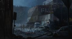 Post Apocalyptic by Marco Sgarbossa on ArtStation. Arte Zombie, Zombie Art, Post Apocalyptic City, Apocalypse Art, Environment Design, Game Environment, Survival Skills, Survival Prepping, Matte Painting