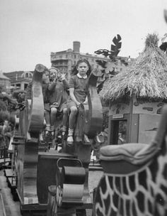 1948 - Southend on Sea Children riding rides at amusement park on Southend beach. Bognor Regis, Essex England, British Seaside, Childhood Days, Great British, Old Photos, Nostalgia, Shots, Memories