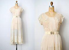 reserved... vintage wedding dress / vintage 1930s dress / sheer 30s wedding dress / lace 30s dress. $328.00, via Etsy.