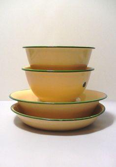 Vintage Farmhouse Cream Tan Enamel Ware Green by Lifeinmommatone, $40.00