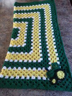 Crochet John Deere baby blanket / image only