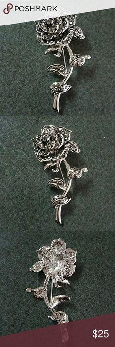 Gorgeous Vintage Rose Brooch Nwot! Never worn! Gorgeous Vintage Rose Brooch with Crystals Accessories