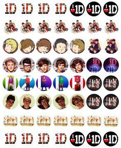 """1D - Bottle cap images, high resolution formatted for printing on 8.5"""" x 11"""" page"""