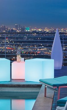 Led Furniture, Outdoor Furniture, Outdoor Rooms, Outdoor Living, Cube Seat, Salt And Water, New Years Party, Extra Seating, White Light