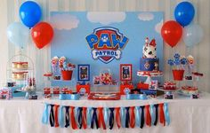 Paw Patrol Party details to LOVE…. ♥ Amazing Paw Patrol themed birthday cake with Marshall cake topper ♥ Paw Patrol paw shaped cookie pops ♥ Paw Patrol themed cake pops ♥ Fun party backdrop w… 4th Birthday Parties, Boy Birthday, Birthday Ideas, Paw Patrol Birthday Theme, Paw Patrol Birthday Decorations, Birthday Cake, Third Birthday, Paw Patrol Cake, Puppy Party