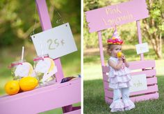pink lemonade party with DIY stand