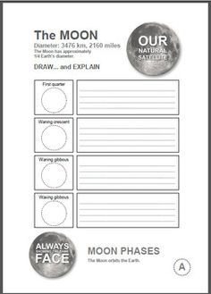 The MOON Wordsearch and Worksheet List Of Resources, Teacher Resources, Solar System Worksheets, Beavers, Teaching Materials, Moon Phases, Word Search, Planets, Knowledge