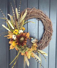 Pheasant feather grapevine wreath