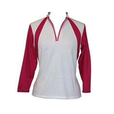 Fresh look in 3/4 length sleeve. Zip up front, oriental collar, cuff on sleeves, in aqua pink or purple. $43 via our online store: http://www.ladygolfwear.com.au/fresh-look-3-4-length-sleeve-top/