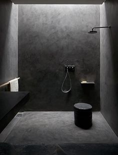 Concrete shower with sunlight from above
