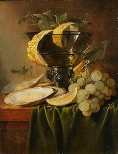 Jan Davidsz de Heem. Still Life with a Glass and Oysters, ca. 1640.   Oil on wood.   The Metropolitan Museum of Art, NY.