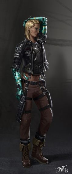 ArtStation - Mercenary, Eric Martin - The character in this picture brings to mind Alex's squadmates. I also like the idea that body armour can still be worn under normal clothing in the future. Cyberpunk 2020, Arte Cyberpunk, Character Concept, Character Art, Concept Art, Warhammer 40k, Science Fiction, Sci Fi Rpg, Ex Machina