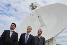 First Secretary Tarun Kumar, Indian High Commission in Canberra (Australia), CDSCC Director Dr Ed Kruzins, CSIRO, and Indian Deputy High Commissioner to Australia Surinder Kumar Datta at the Deep Space Station 43 on 24 September, 2014, as it communicates with ISRO's Mars Orbiter Mission shortly before it enetered the Mars orbit