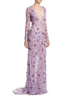 Naeem Khan Floral V-Neck Gown purple lilac wedding dress whimsical unique plunging gown Floral Evening Gown, Purple Evening Gowns, Sequin Evening Gowns, Purple Gowns, Purple Lilac, Lilac Wedding Dresses, Colored Wedding Gowns, Formal Dresses, Long Dresses