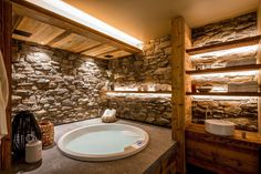 ski chalet wooden rustic alp interior jacuzzi spa