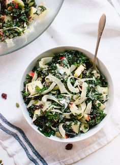 Autumn Kale Salad with Fennel, Honeycrisp and Goat Cheese | cookieandkate.com