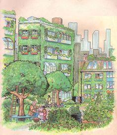 Urban Permaculture Illustration #savethebees #summendehager #lahumlasuse