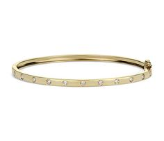 Diamond Bangle in 14k Yellow Gold | #Jewelry #Bracelet #Style