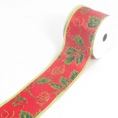 Red Christmas Ribbon With Holly Pattern