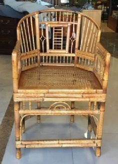 "Chinese Chippendale bamboo chair is so light and airy it makes a charming accent piece in any room. Solid and sturdy. Mid-late 20th C,, origin unknown. 21.5"" x 18.5"" x 35"" tall back."