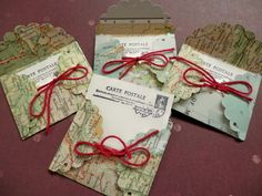 RESERVED FOR JAMIE  Vintage Atlas Mini Envelopes by PaperPastiche, $62.50
