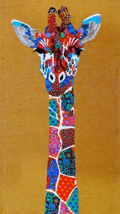 Giraffe art quilt by Pam Holland January 2015