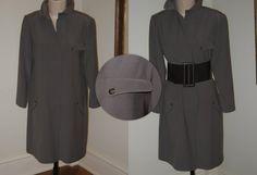 Geoffrey Beene military-inspired wool coat with wide belt.
