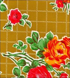 Rose and Grid Tan Oilcloth Fabric