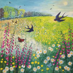 Print on paper of English countryside in summer from an original acrylic painting 'Butterfies and Swallows' by Jo Grundy Art And Illustration, Illustrations, Guache, Naive Art, Landscape Art, Painting Inspiration, Art Images, Painting & Drawing, Folk Art