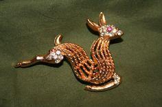BSK Reindeer Brooch with rhinestones RARE FIND by GeniceRill, $15.00