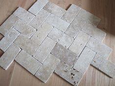 herringbone travertine tile floor