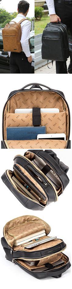 US$51.17 Business Retro Pu Backpack_ Multi Pocket Solid Laptop Bag For Men