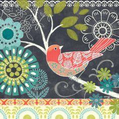 Artwork Title - Chalk Bird Blue Artist Name - Jennifer Brinley Size - 12x12x1.5 Quantity - 4 Pieces