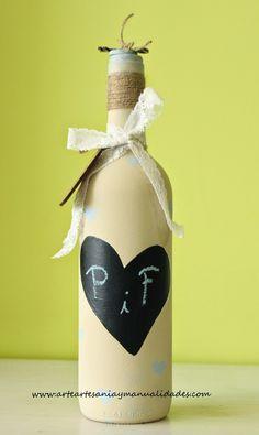 Botella reciclada con Chalk Paint para regalar dinero de Boda