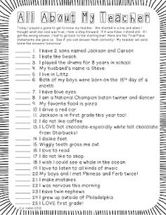 "Fun ""get to know me"" activity for the first few days of school---that gets kids moving!  Freebie! :)"