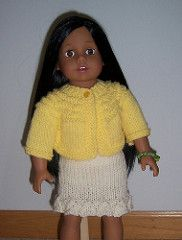 """Worked from the top down, this is a quick cardigan to knit for a favorite 18"""" doll. It fits the popular 18"""" dolls and can be adjusted to fit the popular 15"""" baby dolls."""