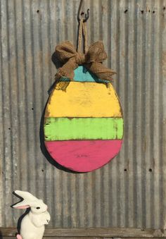 Easter Egg Wall Hanging Rustic Easter Decor by MAODesignsShop