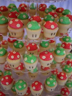 Funny Wedding Photos For our Mario Kart race day - Mario Kart Mushroom Cupcakes - This is the most unique and fun wedding cupcake tower we've created to date! Congratulations to Kathy Super Mario Party, Bolo Super Mario, Super Mario Birthday, Mario Birthday Party, Birthday Parties, Birthday Ideas, Super Mario Cupcakes, Lego Parties, Lego Birthday