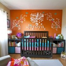 Orange accent wall, that would be super cute!! Can't wait to have a kid already, lol!! So many cute ideas!