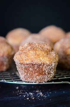 Muffin Tin Donuts: Tender, nutmeg-scented muffins slathered in butter and rolled in cinnamon sugar.