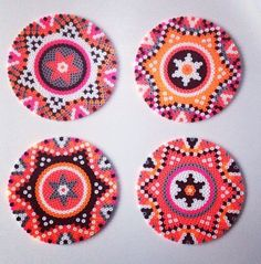 Coaster Aztec pattern for perler or Hama beads