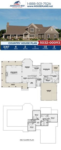 Offering 3,167 sq. ft., Plan 5032-00093 details a 1.5-story Country home design featuring 4 bedrooms, 2.5 bathrooms, a breakfast nook, a kitchen island, an open floor plan, a wrap-around porch, and a loft. #architecture #houseplans #housedesign #homedesign #homedesigns #architecturalplans #newconstruction #floorplans #dreamhome #dreamhouseplans #abhouseplans #besthouseplans #newhome #newhouse #homesweethome #buildingahome #buildahome #residentialplans #residentialhome Best House Plans, Dream House Plans, Dream Houses, House Floor Plans, Craftsman Style Homes, Craftsman House Plans, Tiny Homes, New Homes, New Home Construction